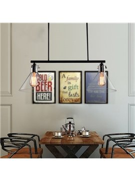 Retro American Country Style Dining Room Bar Glass Shade Pendant 2-Head Lights