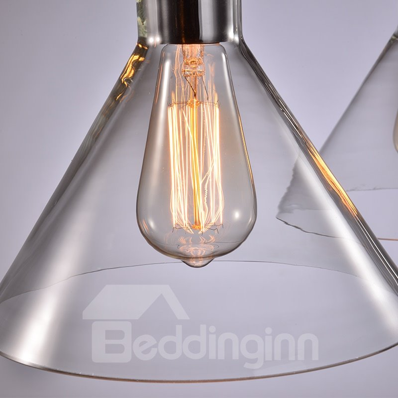 Retro American Country Style Dining Room Bar Glass Shade Pendant 3-Head Lights