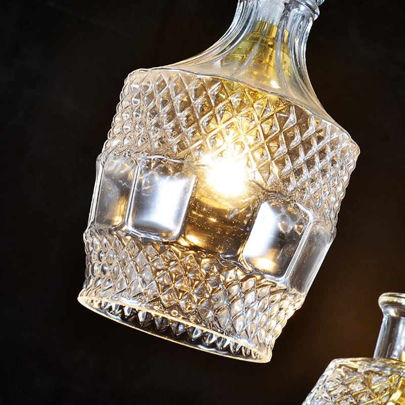 Nordic Retro Creative Multi-Shaped Dining Room Bar 4-Head Glass Pendant Lights