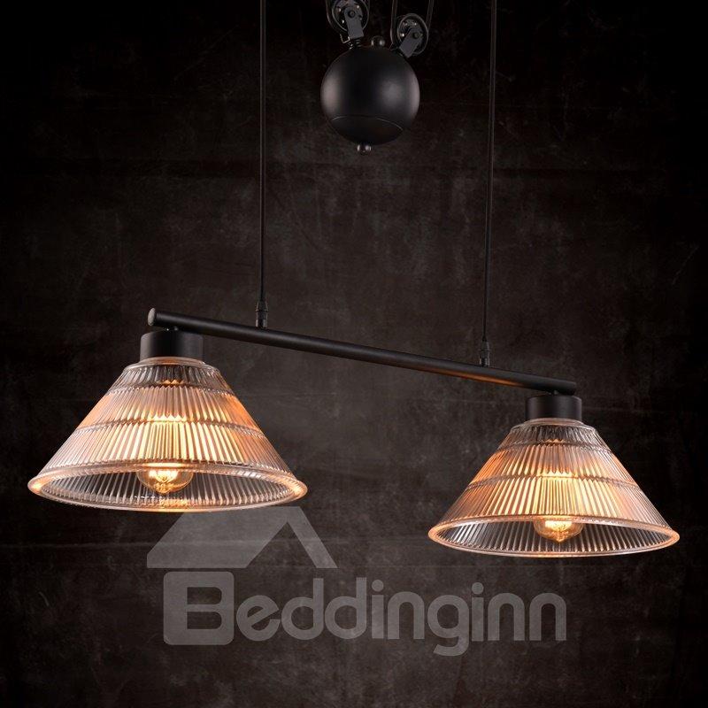 Retro American Country Style Loft Dining Room Corridor Crystal 2-Head Pendant Light