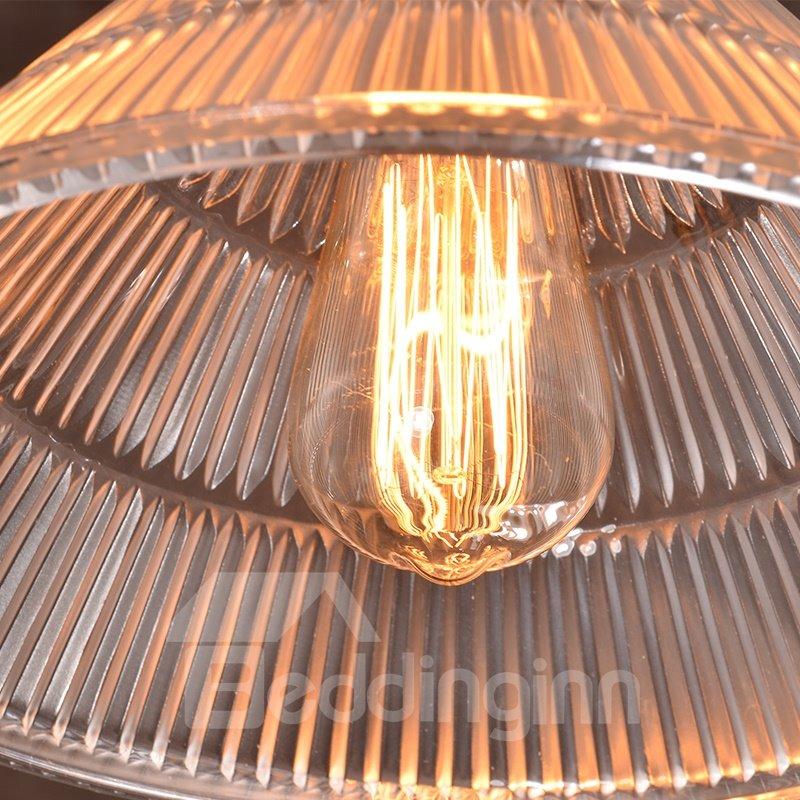 Retro American Country Style Loft Dining Room Corridor Crystal 3-Head Pendant Light