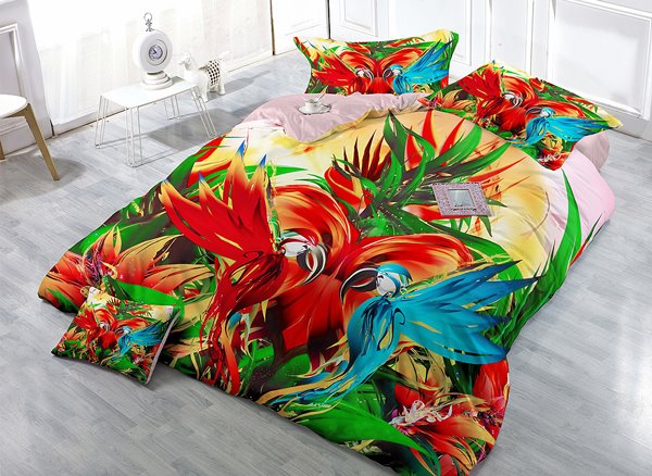 Parrot Drawing 4-Piece High Density Satin Drill Duvet Cover Sets