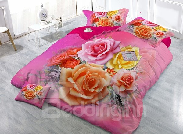 Amazing Fresh Rose Print 4-Piece High Density Satin Drill Duvet Cover Sets