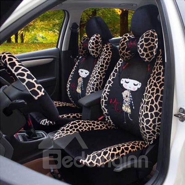 Deer Lines and Girls Printing Plush Car Seat Cover