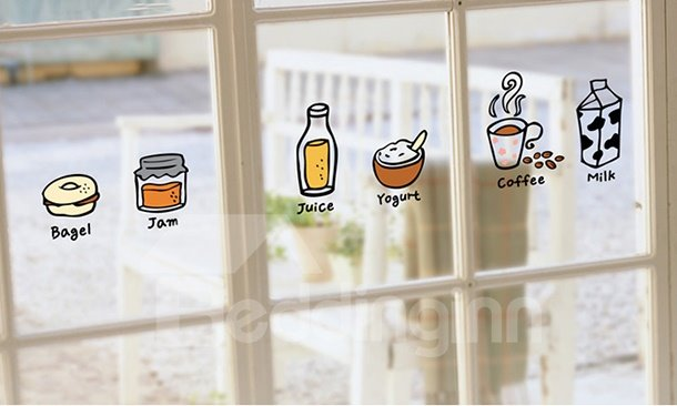 Cute Creative Kitchen Fridge Dining Room Food Sketches Decorative Wall Sticker