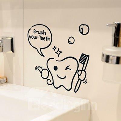 Inspirational Smiling Brush Your Teeth Bathroom Restroom Wall Sticker