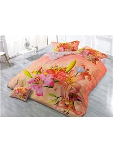 Warmth Orange  Blooming Lily Flower 4-Piece High Density Satin Drill Duvet Cover Sets