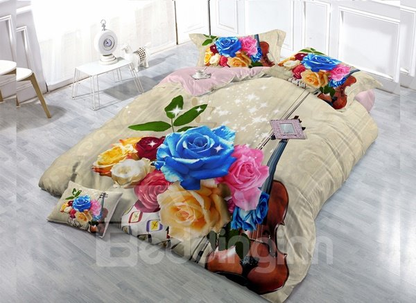 Colorful Rose 4-Piece High Density Satin Drill Duvet Cover Sets