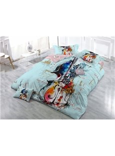 Personality Violoncello 4-Piece High Density Satin Drill Duvet Cover Sets