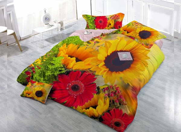 Yellow And Red Flower  4-Piece High Density Satin Drill Duvet Cover Sets