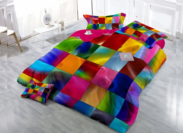 Colorful Plaid  4-Piece High Density Satin Drill Duvet Cover Sets
