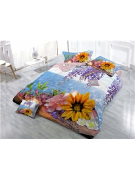 Pretty Colorful Flower  4-Piece High Density Satin Drill Duvet Cover Sets