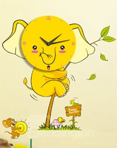 Cute Cartoon Baby Elephant Creative Wall Clock