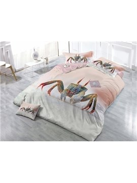 Cartoon Crab  4-Piece High Density Satin Drill Duvet Cover Sets