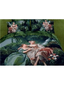 Antique Famous Painting Reactive Cotton Fitted Sheet