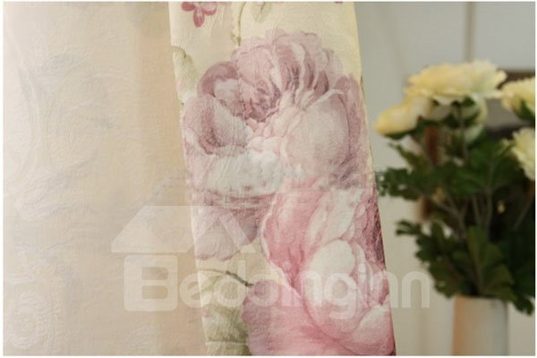 Decent Luxury Peony Pattern Grommet Top Shading Cloth & Sheer Sets