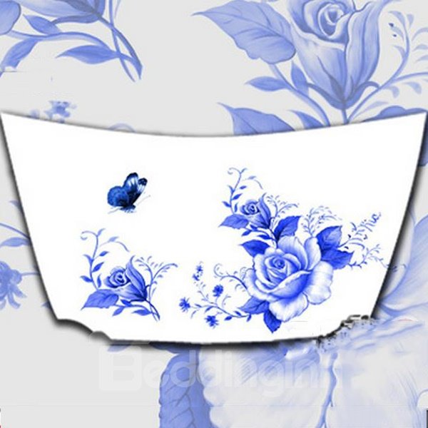 Elegant Blue And White Flowers Car Engine Sticker
