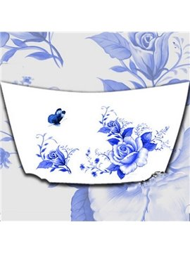 Elegant Blue And White Flowers Car Engine Sticker