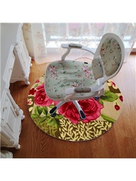Wonderful Red Roses Round Mat Area Rug Exercise Mat Desk Mat