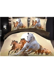 Magnificent Running Horses Print 4-Piece Polyester Duvet Cover Sets