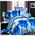 Shining Purple Rose Print 4-Piece Polyester Duvet Cover Sets