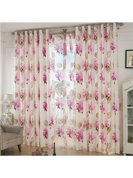 Fresh Big Flower Pattern Grommet Top Curtain and Sheer