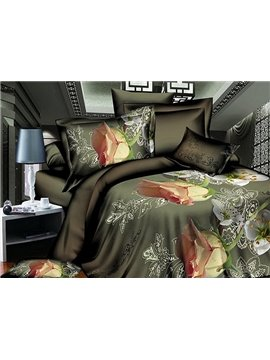 Perfume Rose Print 4-Piece Polyester Duvet Cover Sets