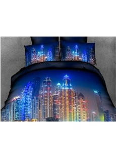 Sparkling City Print 4-Piece Polyester Duvet Cover Sets