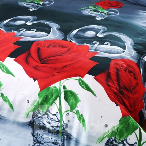 Brilliant Red Rose and Water Print 4-Piece Polyester Duvet Cover Sets