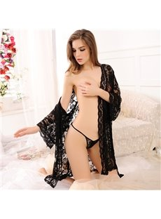 Summer Sexy Attractive Lace Transparent  Women's Bathrobe