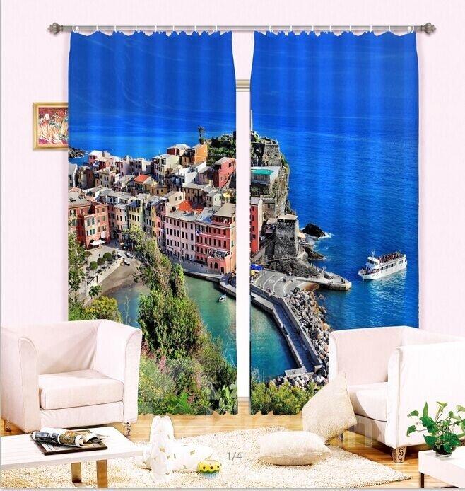 Romantic Seaside  Peninsula Scene 3D Curtain