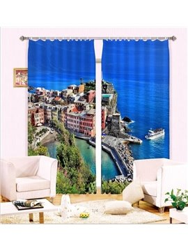 Romantic Seaside  Peninsula Scene 3D Curtain