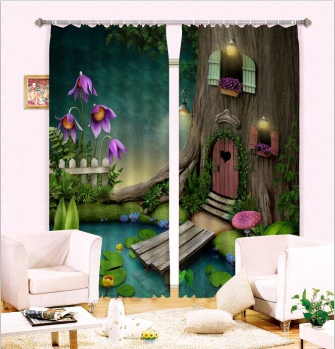 Cozy Tree House and Pond Printing 3D Curtain