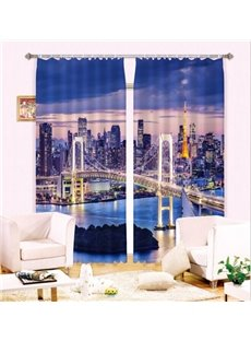 Life In the Big City Fascinating Urban Scene 3D Curtain