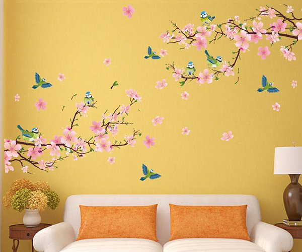 Wonderful Blossom Peach Flowers Living Room Staircase TV Background Wall Stickers