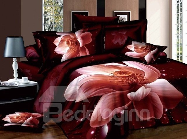 Amazing 3D Pink Lotus Print Cotton Fitted Sheet