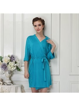 Sky Blue Modal Ultrathin Women's Bathrobe