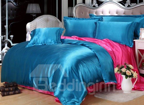 Skin Care Charming 4-Piece Lake Blue Duvet Cover Sets
