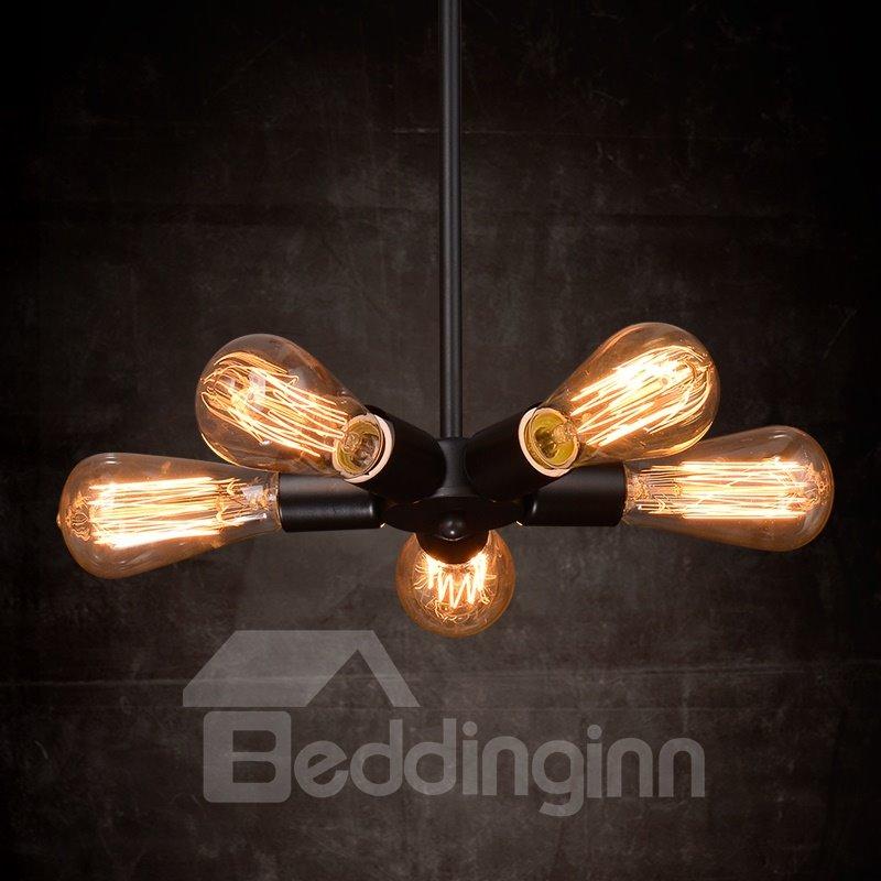 American Style Creative Bar Restaurant Iron Satellite 5-Head Pendant Lights