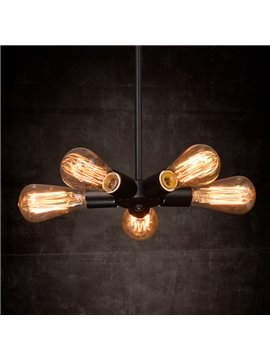 American Style Creative Bar Restaurant Iron Satellite 5-Head Pendant Lights