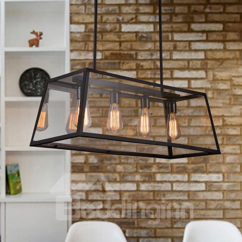 Retro Creative Decorative Coffee Bar Glass House 4-Head Pendant Lights