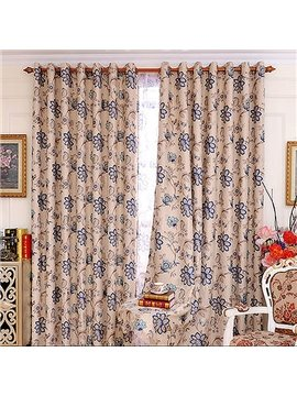 Modest Luxury Flower Pattern Grommet Top Curtain and Sheer