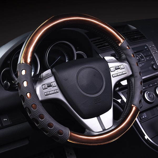 Bright Leather and Slip Resistance Gel Steering Wheel Cover
