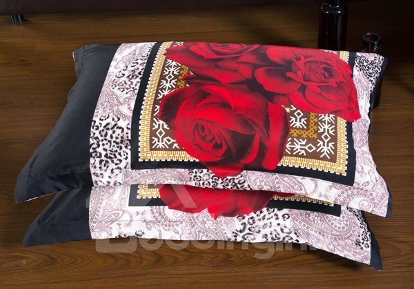 Red Rose with Border Print 6-Piece Duvet Cover Sets