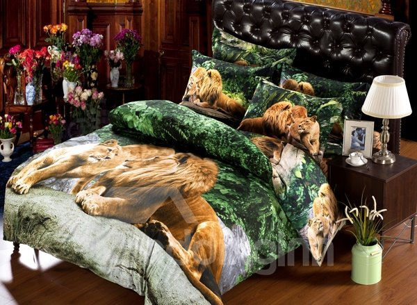 Lion Couple Lying on the Stone Print 6-Piece Duvet Cover Sets