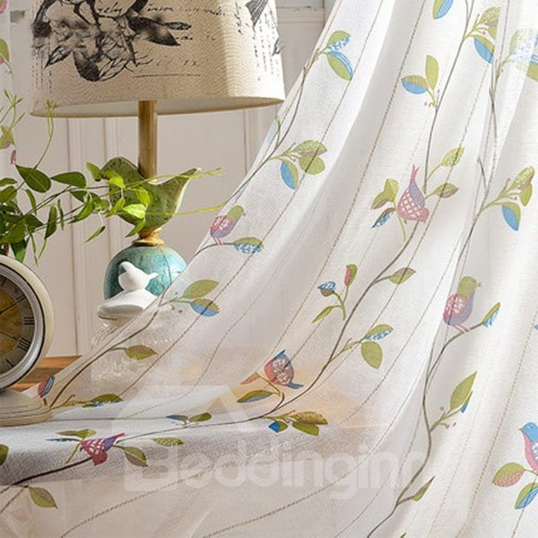 Fresh and Pure Lovely Bird Pattern Linen Sheer