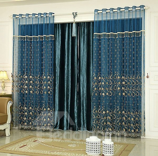 Peacock Blue Sheer Curtains Peacock Feather Sheer Curtains