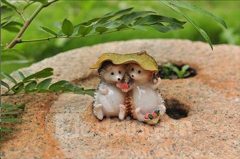 Cute Loving Hedgehog Couples in Shelter Desktop Decoration