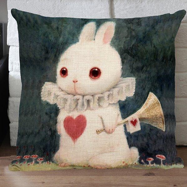 The Cute Elegant Rabbit Printing Linen Throw Pillows