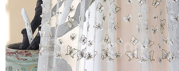 Graceful Butterfly Pattern Embroidered Sheer